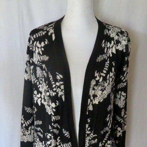 Belldini Black White Open Front Cardigan ~ Women M
